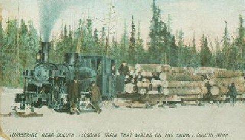 logging train on snow
